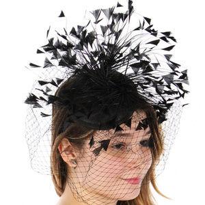 Feather stem fascinator hat